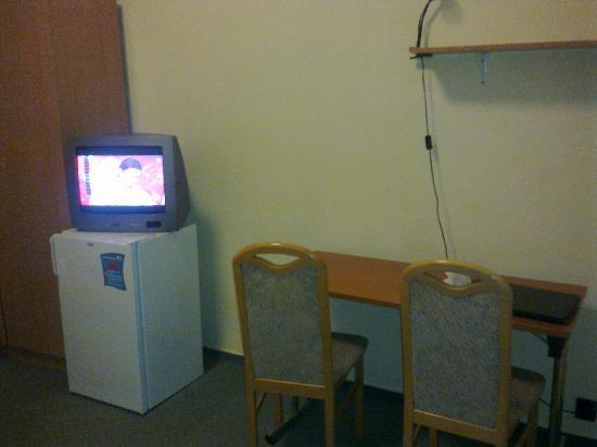 Hunguest Platanus Hotel: Empty fridge whit a tv