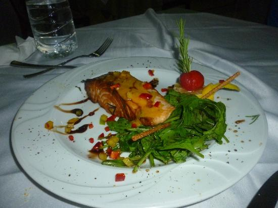 Kervansaray Kundu Beach Hotel: My son's Salmon dish fro Italian a la carte-he loved it!