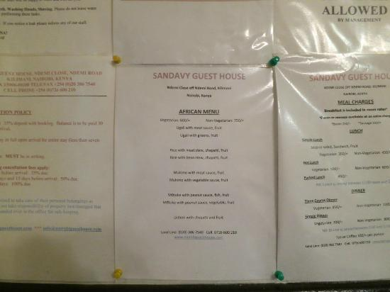 Sandavy Guest House - Kilimani: The delicious menu