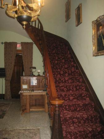 Victorian Mansion: Stairway to upper level - there is no elevator so pack light