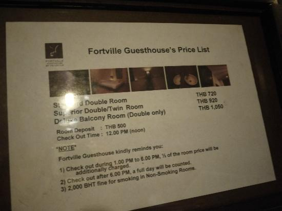Fortville Guesthouse: Room rate