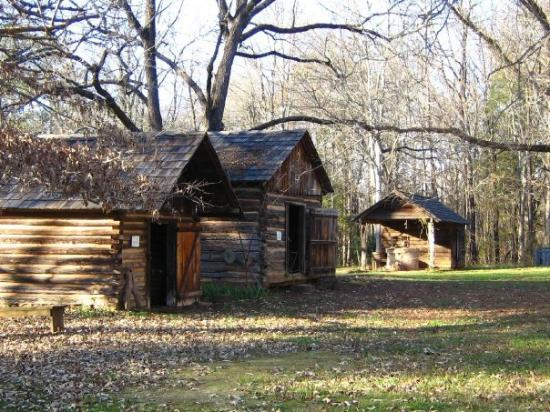 Walnut Grove Plantation : A few of the outbuildings: smokehouse, wheat house, and blacksmith.