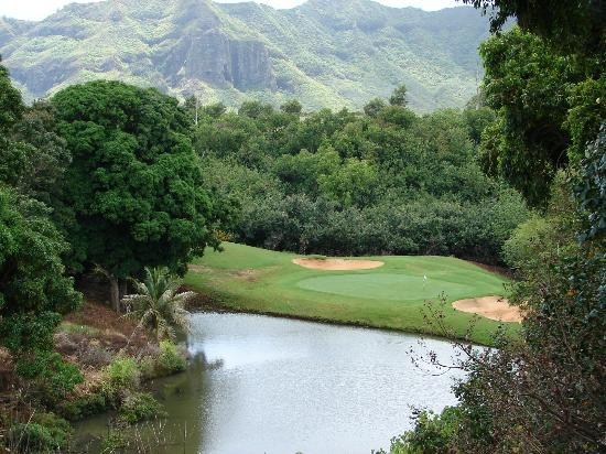 Puakea Golf Course: Famous hole six- have to see it to realize how steep it is.