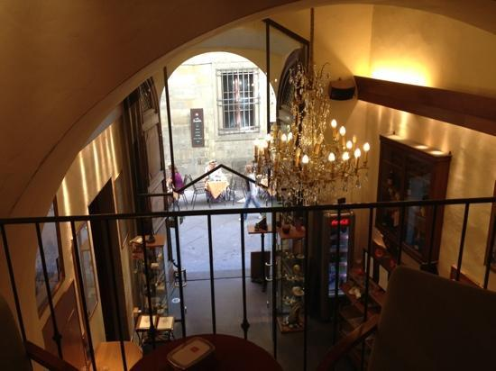 Caffe Tuscher: view from inside out towards our table