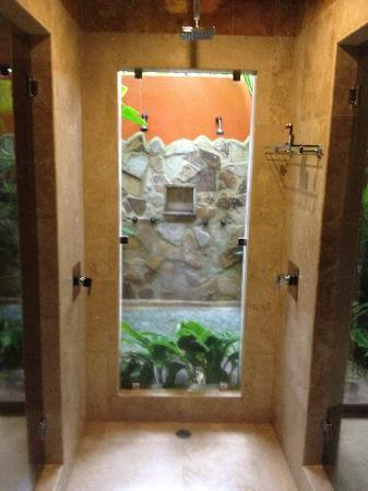 Nayara Resort Spa & Gardens: Indoor shower looks out to outdoor shower