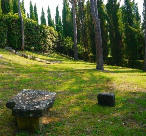 B&B Fagiolari: Stone bench in terraced gardens