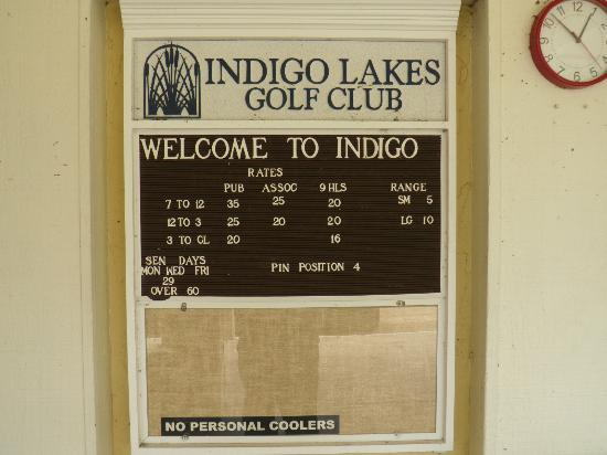 Indigo Lakes Golf Club: Rates at Indigo Lakes, Sept 2012