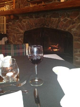 Pictou Lodge Beachfront Resort: My usual table by the dining room fireplace