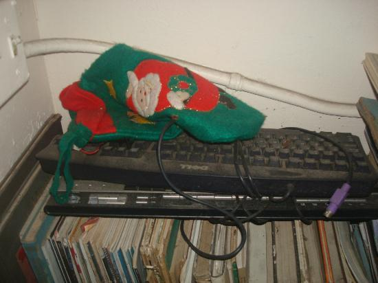 Everglades International Hostel: Sitting area, old, dusty keyboard, merry X-mas