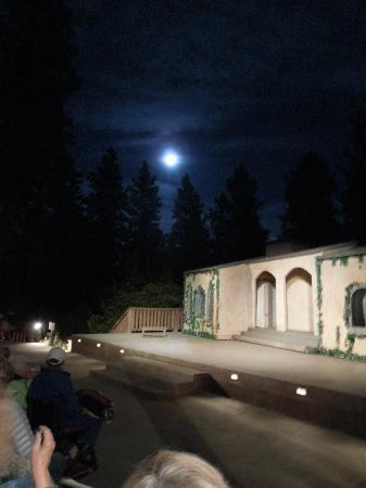 Leavenworth Summer Theater: The moon rises at intermission - spectacular. A warm August night.
