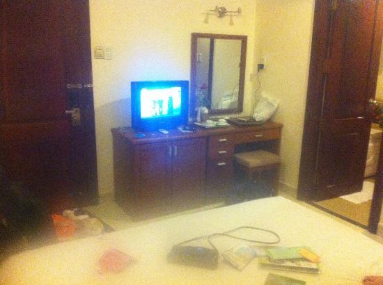 Tan Hoang Long Hotel: TV and fridge