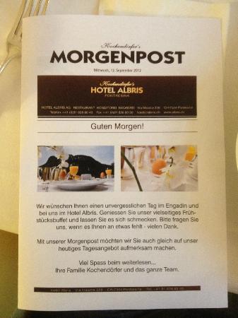 """Morning Mail (""""Morgenpost"""") information leaflet Hotel Albris"""
