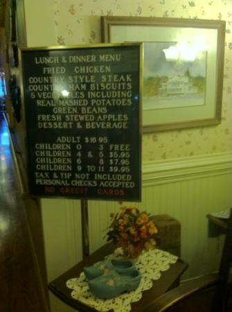 Dan'l Boone Inn Restaurant: menu on 9/14/2012