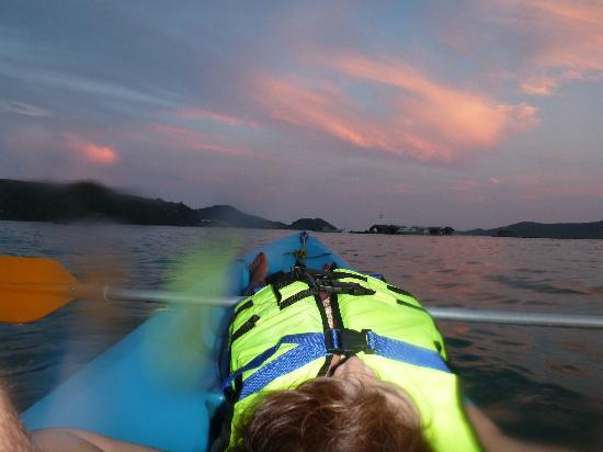 Kayaking at Sunset whilst on River Rovers Cruise