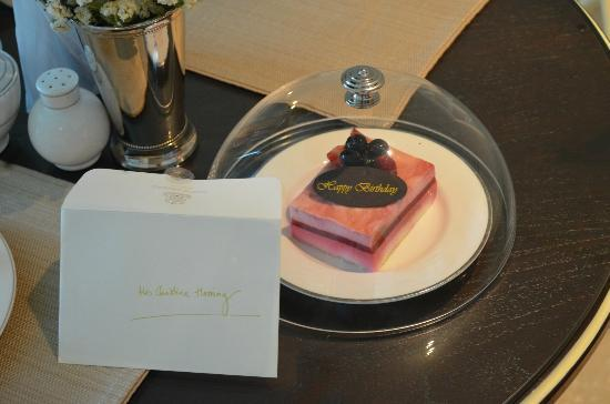 Oriental Residence Bangkok: Suprise birthday treat and card.