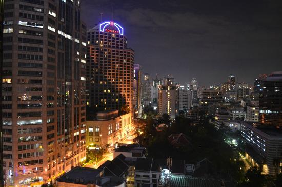 Oriental Residence Bangkok: View at night from our balcony.