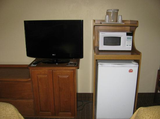 Quality Inn: tv and fridge microwave area