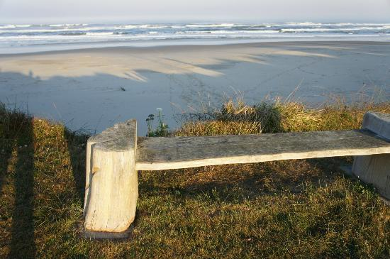 Wayside Lodge: Bench near steps down to beach