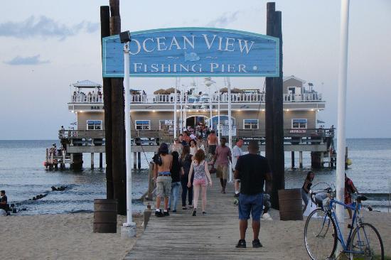 Restaurant inside on upper deck picture of ocean view for Ocean view fishing pier