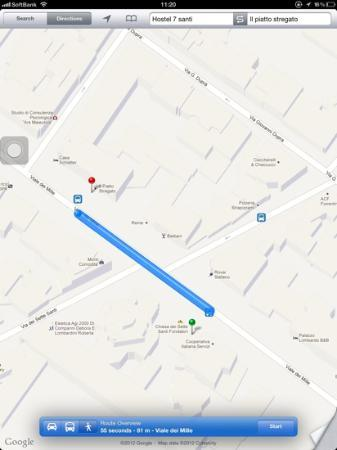 7 Santi Hostel: from hostel to the bus stop going to city center (different from the stop to get off)