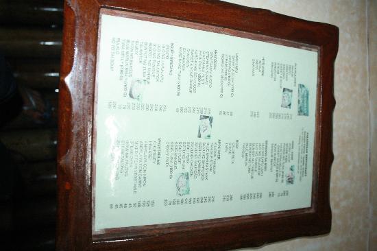 Tayabas City, الفلبين: the menu