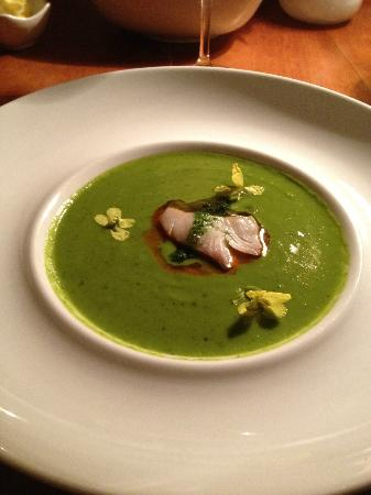 Sooke Harbour House Resort Hotel: most delicious soup ever with smoked fish-perfect flavors
