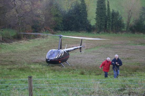 Fermanagh Self Catering: Guests arriving back from a helicopter ride over the fantastic lakeland scenery