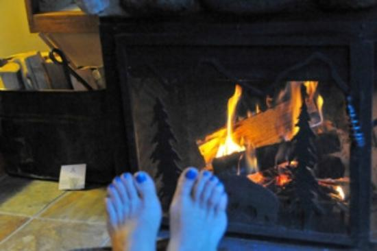 Moraine Lake Lodge: coin cheminée