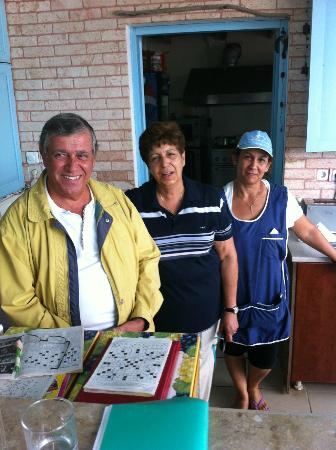 Marialena Village Apartments: George, Wife Maria and Cleaner Maria