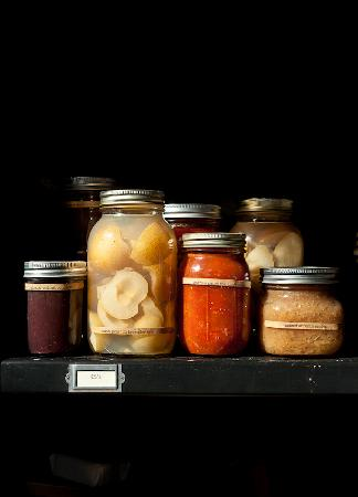The Madrones: Canned goods from the Estate and Sugar Hill Farm.