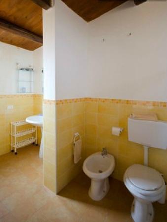bagno con tetto in legno, con doccia, wc, bidet e lavandino, Disegni interni