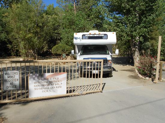 Camp James Campground: The 'Obama Gate' as we named it.