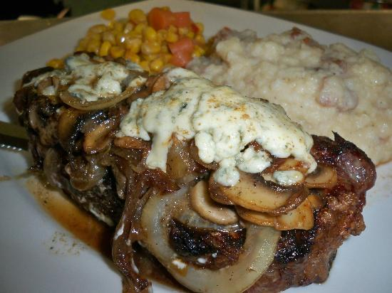 Dome49 : NY Strip with added mushrooms, onions and blue cheese!