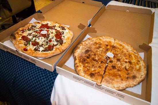 Pasta Lovers : Our takeaway pizzas. One on the right is the 'stuffed' pizza.