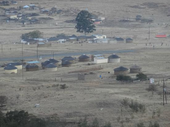 Isandlwana Lodge: village view from our room