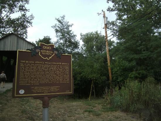 The Black Covered Bridge: Historical marker at bridge