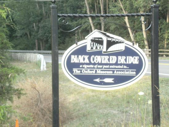 The Black Covered Bridge: Historical marker at turn off