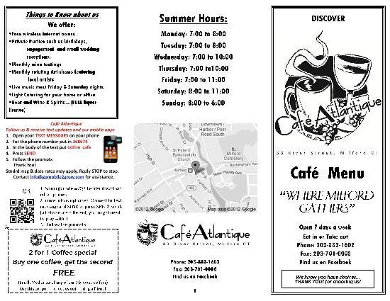 Cafe Atlantique Milford Ct Menu