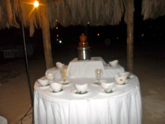 Couples Negril: chocolate fountain at bon fire.