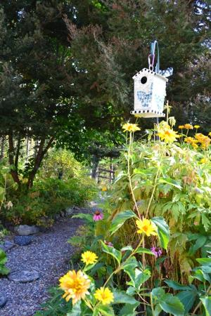 Moss Mountain Inn: Birdfeeders in garden outside inn