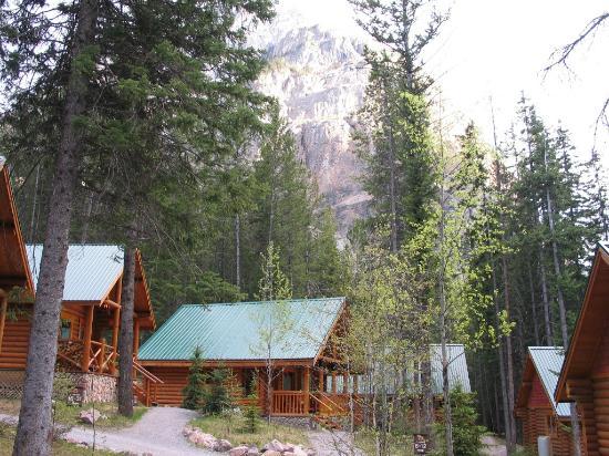 Cathedral Mountain Lodge: Hytterne udefra med bjergene i baggrunden