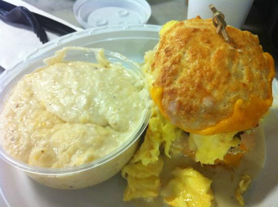 Caviar & Bananas: Fried Chicken breast, egg and cheese biscuit with jalapeno cheese grits