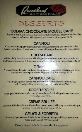 Dessert Menu - Picture Of Rosebud Old World Italian, Schaumburg
