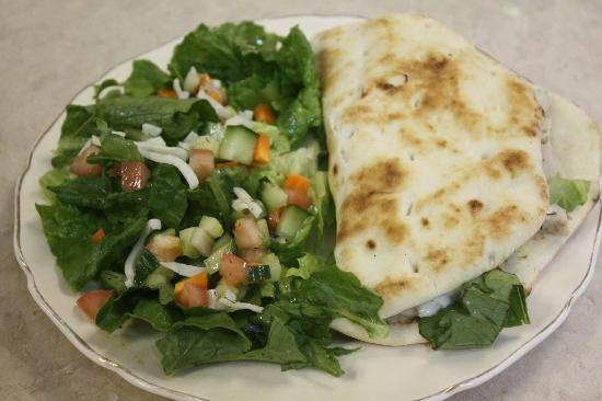 From Scratch Italian Bistro: lunch homemade pita sandwich and salad