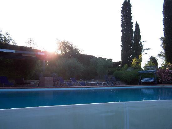 sunrise over the pool of Villa del Pino