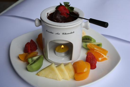 Restaurante S' Albufera: Fondiu de frutas con chocolate