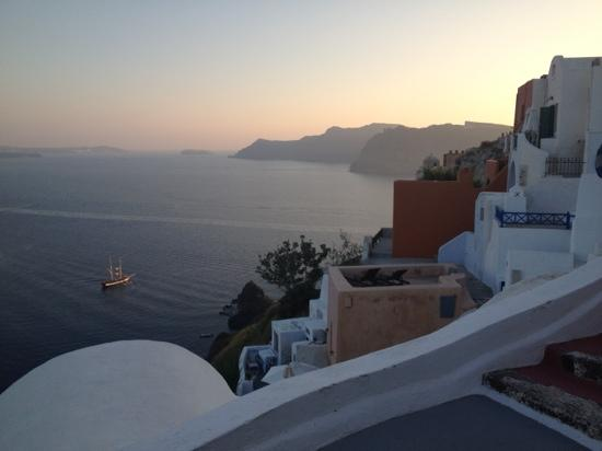 Old Oia Houses: Looking SW from terrace at sunset