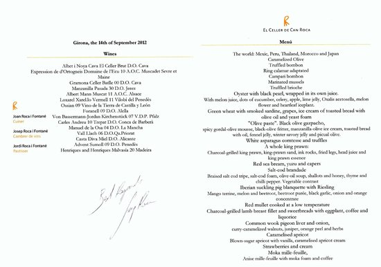El Celler de Can Roca:                   Our personal copy of the menu