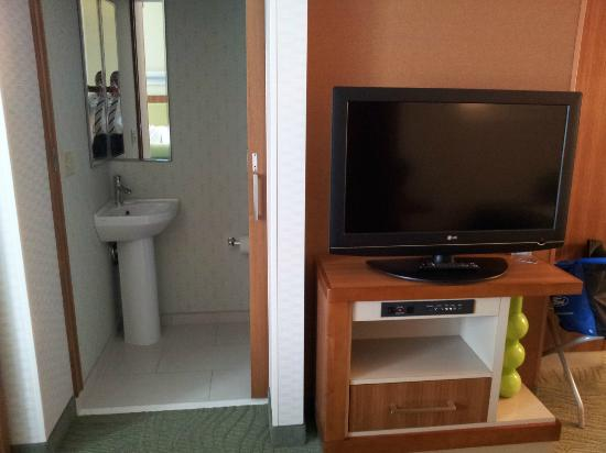 SpringHill Suites Macon: Bathroom and Flat Screen