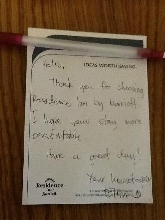 Residence Inn Rockford: Friendly note from hotel staff.